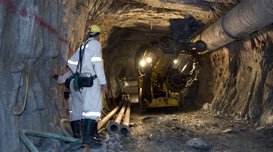 Drilling underground in a South African gold mine